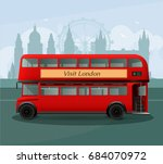 realistic london double decker... | Shutterstock .eps vector #684070972