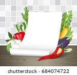 vector mock up. paper poster or ... | Shutterstock .eps vector #684074722
