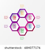 3d infographic template six... | Shutterstock .eps vector #684077176