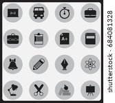 set of 16 editable school icons.... | Shutterstock .eps vector #684081328