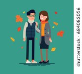 happy couple in autumn season... | Shutterstock .eps vector #684083056