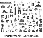 big set of icons for ski and... | Shutterstock .eps vector #684086986