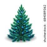 realistic christmas tree... | Shutterstock .eps vector #684089362