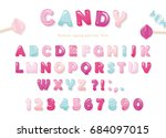 candy glossy font design.... | Shutterstock .eps vector #684097015