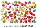 various fresh berries isolated... | Shutterstock . vector #684099982