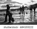 a group of tourists observes...   Shutterstock . vector #684103222