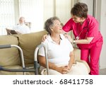 senior woman in a nursing home  ... | Shutterstock . vector #68411758