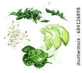 salad ingredients. watercolor... | Shutterstock . vector #684126898