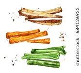 vegetable sides. watercolor... | Shutterstock . vector #684126922