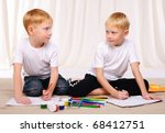 two red twin brother have fun... | Shutterstock . vector #68412751
