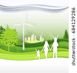 family in the green city for ... | Shutterstock .eps vector #684129286