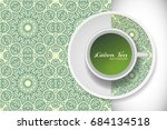 cup of green tea with doodle... | Shutterstock .eps vector #684134518