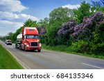 road with truck and lilac... | Shutterstock . vector #684135346