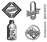color vintage pharmacy emblems  ... | Shutterstock . vector #684136315