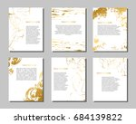 set of white and gold flyers.... | Shutterstock .eps vector #684139822
