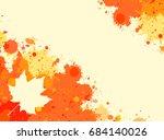 bright orange watercolor paint... | Shutterstock .eps vector #684140026