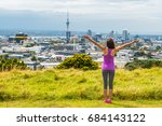 auckland city skyline view from ... | Shutterstock . vector #684143122