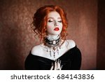 a woman is a vampire with pale... | Shutterstock . vector #684143836