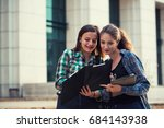 students checking stuff out on... | Shutterstock . vector #684143938