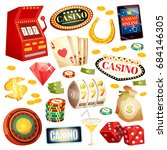 casino decorative icons set... | Shutterstock .eps vector #684146305