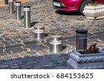 retractable electric bollard... | Shutterstock . vector #684153625