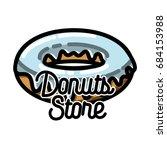 color vintage donuts store... | Shutterstock . vector #684153988