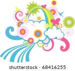 illustration of  retro children ... | Shutterstock . vector #68416255