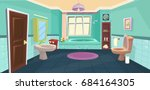 vector bathroom   cartoon... | Shutterstock .eps vector #684164305
