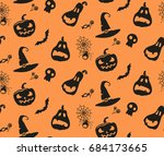 halloween pattern with pumkins  ... | Shutterstock .eps vector #684173665