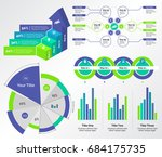 five business charts templates... | Shutterstock .eps vector #684175735