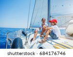 boy with his sister on board of ... | Shutterstock . vector #684176746