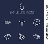 set of 6 dish outline icons set.... | Shutterstock .eps vector #684177706