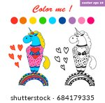 cute hand drawn unicorn with... | Shutterstock .eps vector #684179335