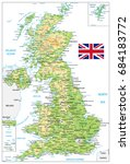 united kingdom physical map... | Shutterstock .eps vector #684183772
