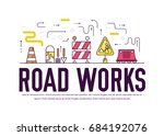 people at road works vector... | Shutterstock .eps vector #684192076