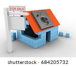 3d illustration of block house... | Shutterstock . vector #684205732