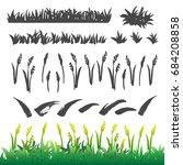 hand drawn grass elements... | Shutterstock .eps vector #684208858