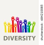 hands diversity color with... | Shutterstock .eps vector #684210085
