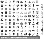 100 healthy person icons set ... | Shutterstock .eps vector #684212446