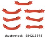 set of red ribbon banner with... | Shutterstock .eps vector #684215998