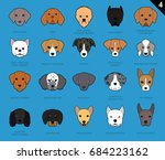 dog faces stroke icon cartoon... | Shutterstock .eps vector #684223162