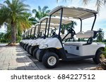 Golf Carts And Palm Tree On...