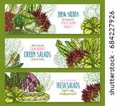 salads banners set of arugula ... | Shutterstock .eps vector #684227926