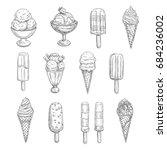 ice cream sketch vector icons.... | Shutterstock .eps vector #684236002