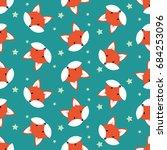 cute cartoon foxes  vector... | Shutterstock .eps vector #684253096