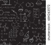 chalk chemistry symbols on... | Shutterstock . vector #684263572