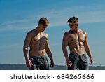 athletic bodybuilders pose as... | Shutterstock . vector #684265666