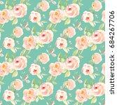 cute  seamless teal floral... | Shutterstock . vector #684267706