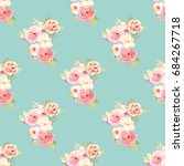 seamless vintage flower pattern ... | Shutterstock . vector #684267718