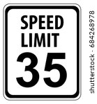 speed limit 35 mph sign...   Shutterstock .eps vector #684268978